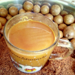 Macadamia nuts; them in powder form and ultimately in a cup ready for drinking, blended with tea.